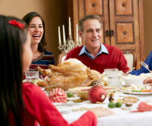 Family celebrating with holiday meal