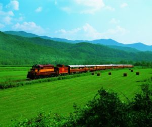 Train wading through the Appalachian Mountains.