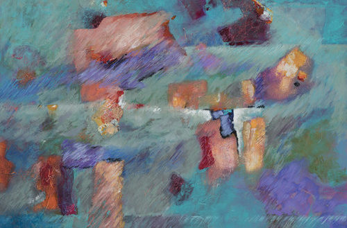 A blue abstract painting with orange-hue blocky highlights by Carol Tinsley.