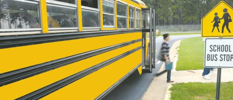 Children exiting a school bus.