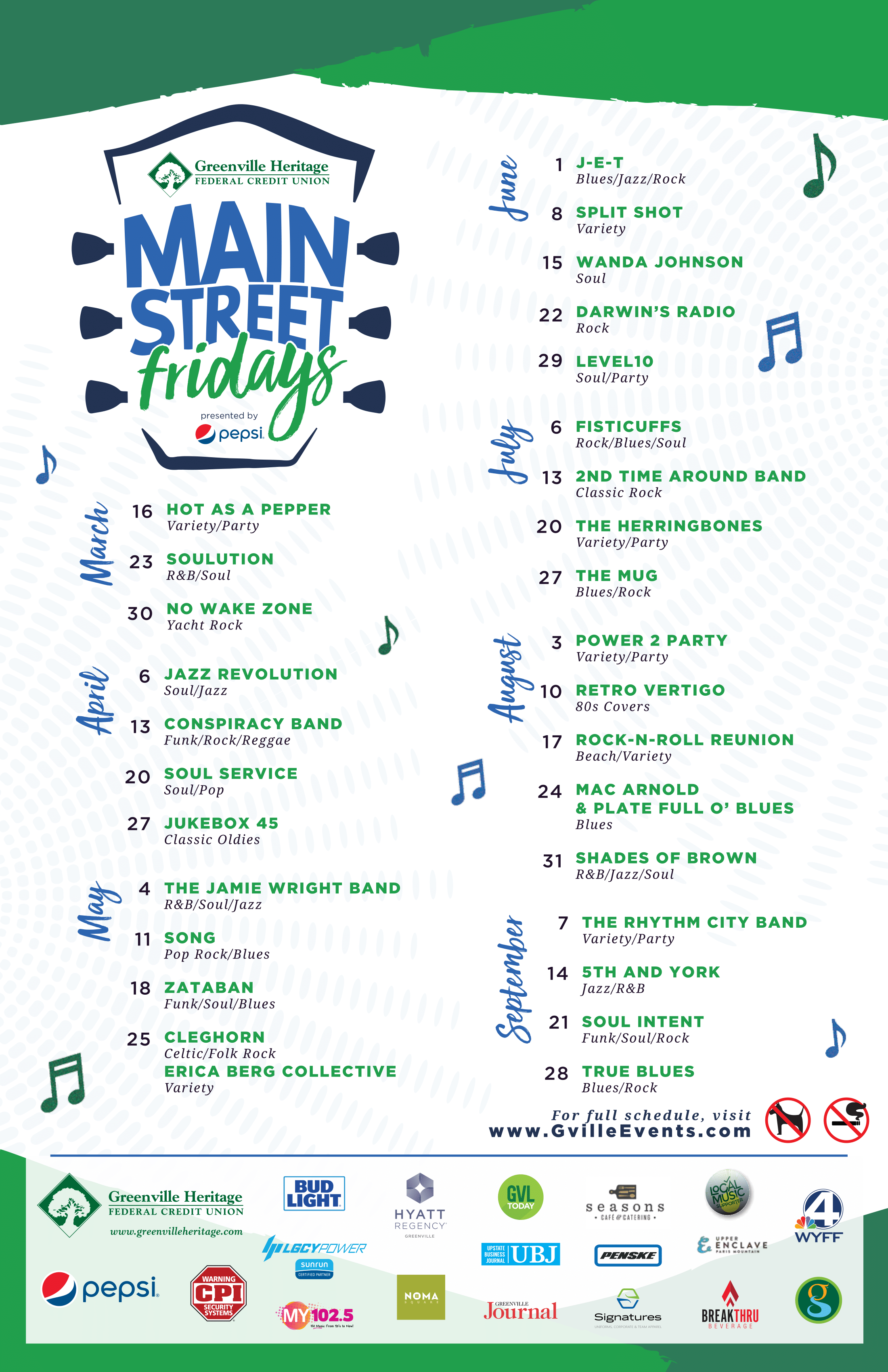 The schedule for Main Street Fridays 2018.