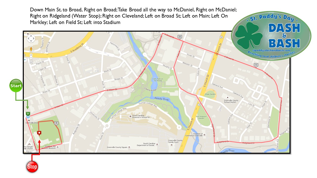 A map of the St. Paddy's Day Dash & Bash route.