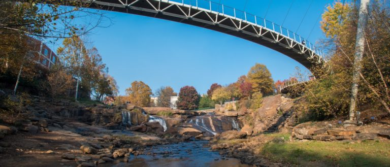 A waterfall on Reedy River in downtown Greenville.