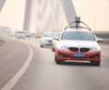 Self-driving cars on a highway.